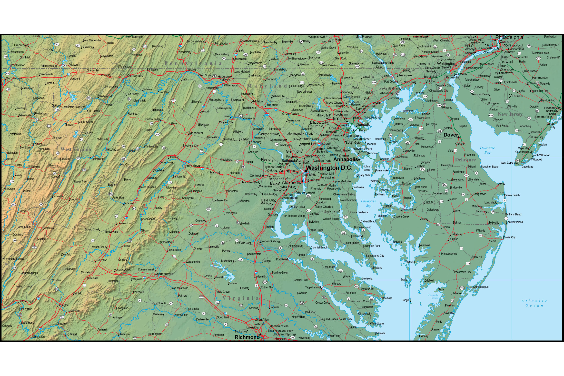 Map Of Maryland And The Surrounding Region