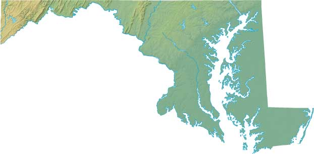 Maryland Relief Map - Interactive topo map